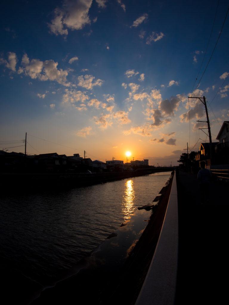 引地川河口夕景